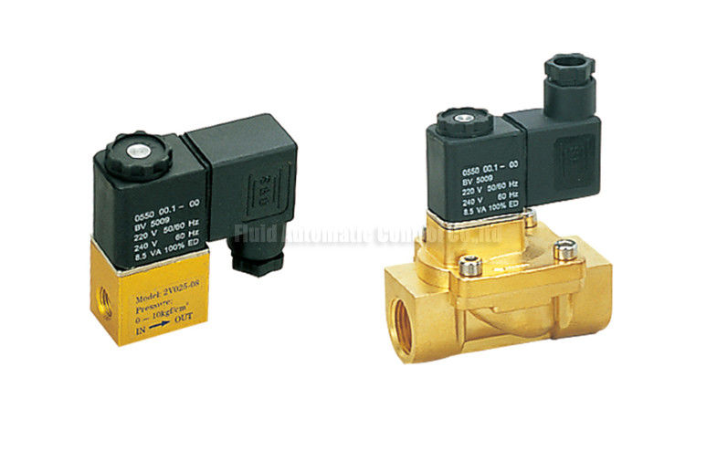 "2V Series Brass 2 Position 2 Way Pneumatic Solenoid Valve G1/4"",Orifice 2.5mm"